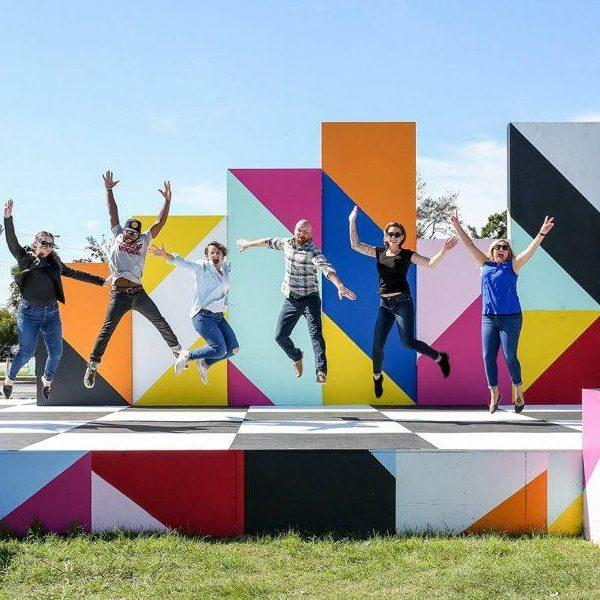 Maser Stage with People Jumping