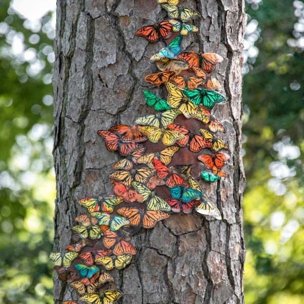 Parallel Migrations Tree Trunk with Butterflies